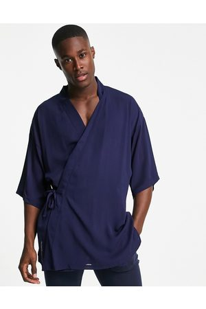 ASOS Co-ord short lightweight dressing gown with tie side in navy