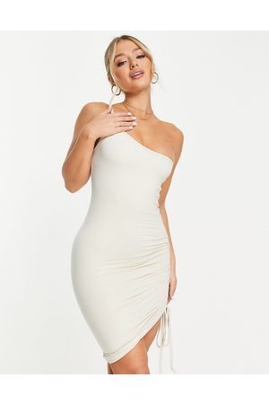 The O Dolls Collection ODolls Collection satin ruched side mini cami dress in ecru-Neutral