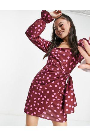 ASOS Square neck long sleeve wrap mini dress in pink spot print-Multi