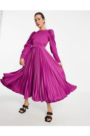Closet Puff sleeve pleated midi dress in berry-Purple