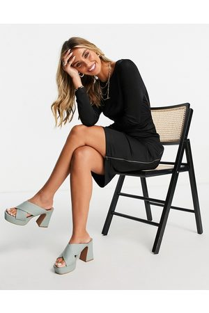 French Connection Mulher Vestidos Midi - Sonike midi long sleeve dress with knot waist detail in black