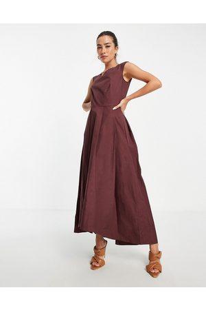 Closet Mulher Vestidos de Festa - High low woven midaxi dress in chocolate brown