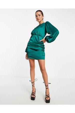 Flounce London Mini dress with ruching detail and puff sleeves in emerald green satin