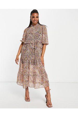 Miss Selfridge Tiered chiffon maxi dress in mixed floral print-Brown
