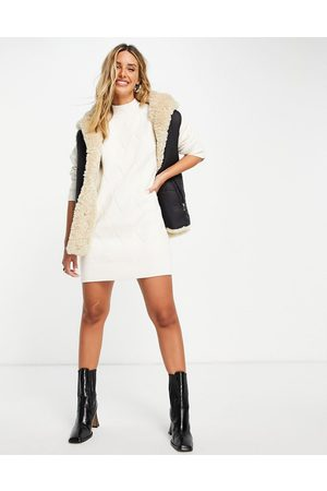 Fashion Union Chunky roll neck knitted jumper dress-White