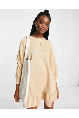 Miss Selfridge Frill hem sweatshirt dress in camel-Brown
