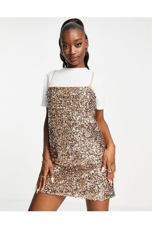 ASOS 2 in 1 mini cami dress with low back in rose gold sequin