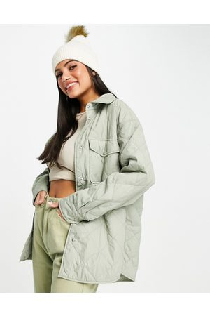 Abercrombie & Fitch Quilted shacket in olive-Green