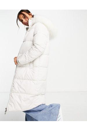 Miss Selfridge Mulher Casacos - Longline maxi puffer coat in ivory-White