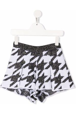 Simonetta Menina Calções - Houndstooth-print wool shorts