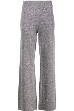 ALICE+OLIVIA Mulher Calças à Boca-de-sino - Charlize metallic wide-leg trousers