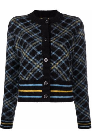 Pinko Mulher Camisolas - Check-pattern cropped knitted cardigan