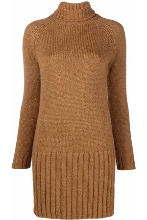 Saint Laurent Chunky-knit ribbed-trim dress