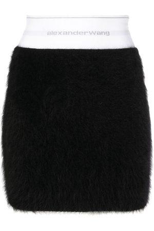 Alexander Wang Furry-texture logo-waistband mini skirt