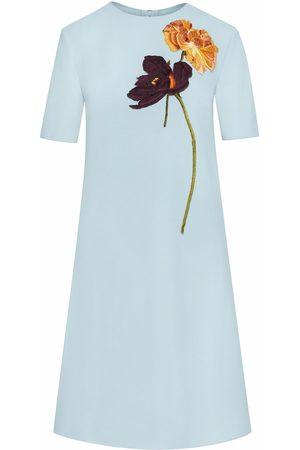 Oscar de la Renta Floral-embroidered shift dress