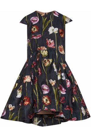 Oscar de la Renta Floral-jacquard flared minidress