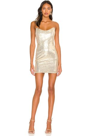 superdown Stevie Sweetheart Mini Dress in - Metallic Gold. Size L (also in M, S, XL, XS, XXS).