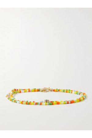 LUIS MORAIS Homem Pulseiras - Gold, Diamond and Bead Wrap Bracelet