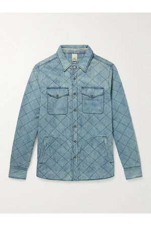 Faherty Homem Casual - Doug Good Feather Reversible Quilted Padded Denim Overshirt