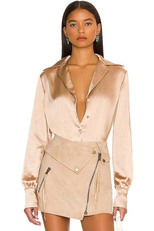L'Academie Raquel Bodysuit in - Metallic Neutral. Size L (also in M, S, XL, XS, XXS).