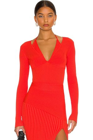 Nicholas Amara Knit Halter Mixed Rib Long Sleeve Top in - Red. Size L (also in M, S, XS).