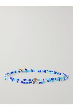 LUIS MORAIS Homem Pulseiras - Gold, Sapphire and Bead Wrap Bracelet
