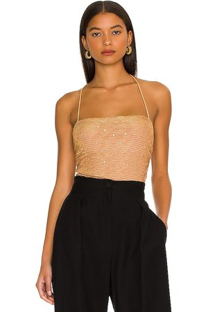 MORE TO COME Olivia Sparkle Cami Bodysuit in - Nude. Size L (also in M, S, XL, XS, XXS).