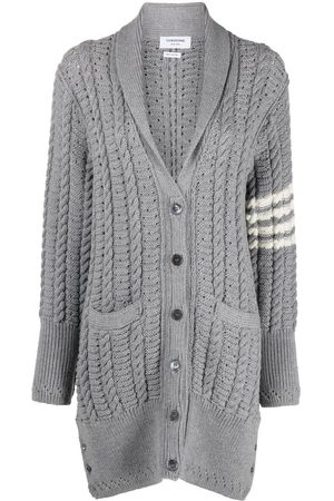 Thom Browne Mulher Casacos - Cable-knit cardi-coat