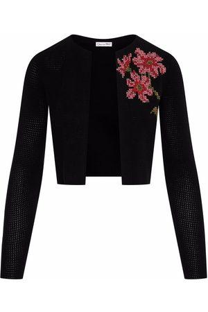 Oscar de la Renta Mulher Boleros - Floral cross-stitch cropped cardigan