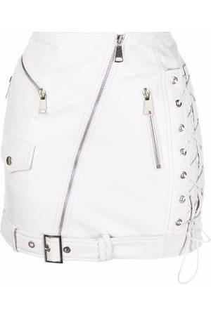 Manokhi Leather zip-up mini skirt