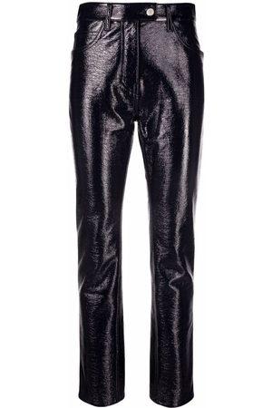 Courrèges Mulher Calças em Pele - Faux leather cropped trousers