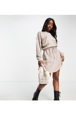 Missguided Mulher Vestidos Casual - Pocket detail tie waist sweater mini dress in stone-Neutral