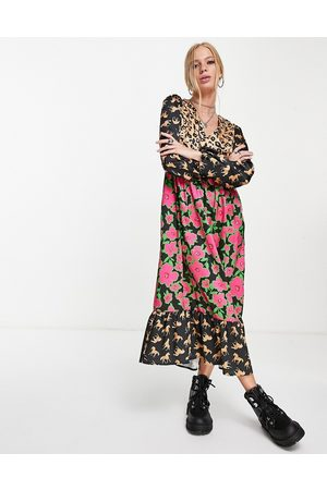 Twisted Wunder Midaxi dress with balloon sleeves in multi print