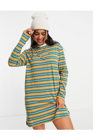 Kickers Mulher Sweatshirts de Manga larga - Oversized long sleeve t-shirt dress in vintage stripe-Green