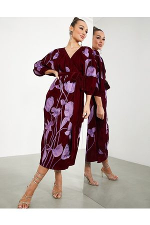 ASOS Midi wrap dress in velvet with floral embroidery in oxblood-Red