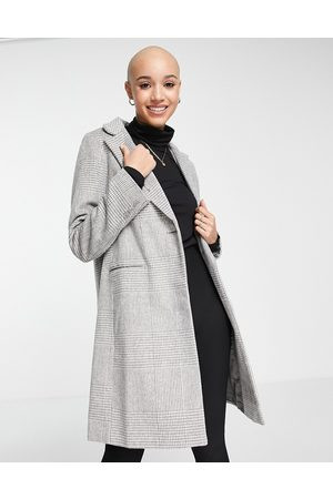 New Look Mulher Casacos - Tailored check coat in grey twill