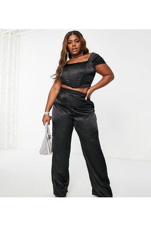 Jaded Rose Plus Mulher Calças à Boca-de-sino - Exclusive wide leg trouser co-ord in black