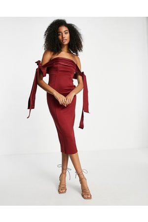 ASOS Mulher Vestidos de Festa - Satin tie off shoulder seamed pencil midi dress in oxblood-Red