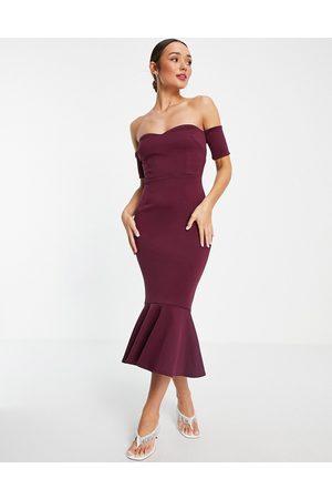 True Violet Bardot fishtail midi dress in plum-Purple