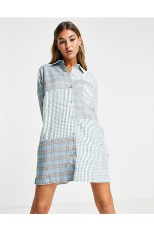 The Ragged Priest Oversized shirt dress in mix check & stripe-Blue