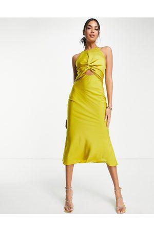 ASOS Mulher Vestidos de Festa - Knot front satin midi dress with tie back detail in olive-Green