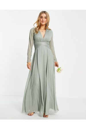 ASOS DESIGN Bridesmaid ruched waist maxi dress with long sleeves and pleat skirt in olive-Green