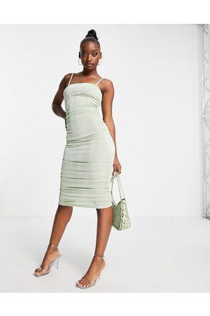 Fashionkilla Mulher Vestidos de Festa - Square neck midi bodycon dress in sage-Green