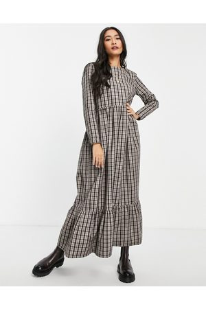 People Tree Mulher Vestidos Casual - Organic cotton maxi smock dress in brown check