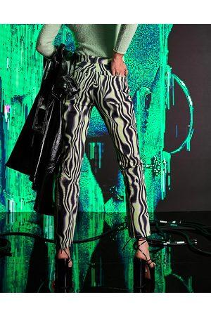 ASOS Mulher Retos - Mid rise '90's' straight leg jean in green swirl print-Multi