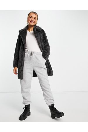 New Look Mulher Casacos - Faux fur coat in dark grey