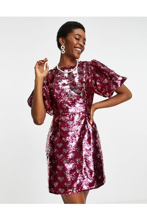 Sister Jane Mini dress in all over sequin hearts-Pink