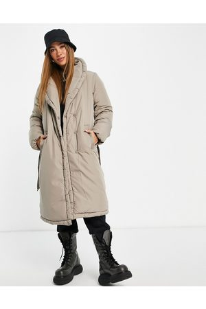 VILA Mulher Casacos de Inverno - Padded wrap coat with belt in stone-Neutral