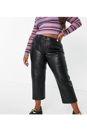 ONLY Mulher Calças em Pele - Faux leather straight leg trousers in black