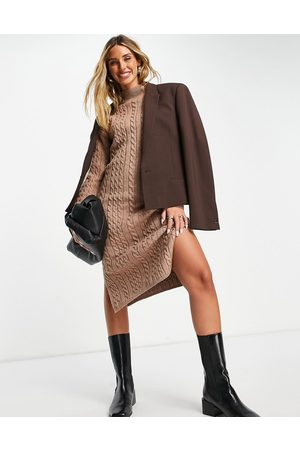 Fashion Union Mulher Vestidos Casual - High neck fitted midi dress in cable knit-Brown